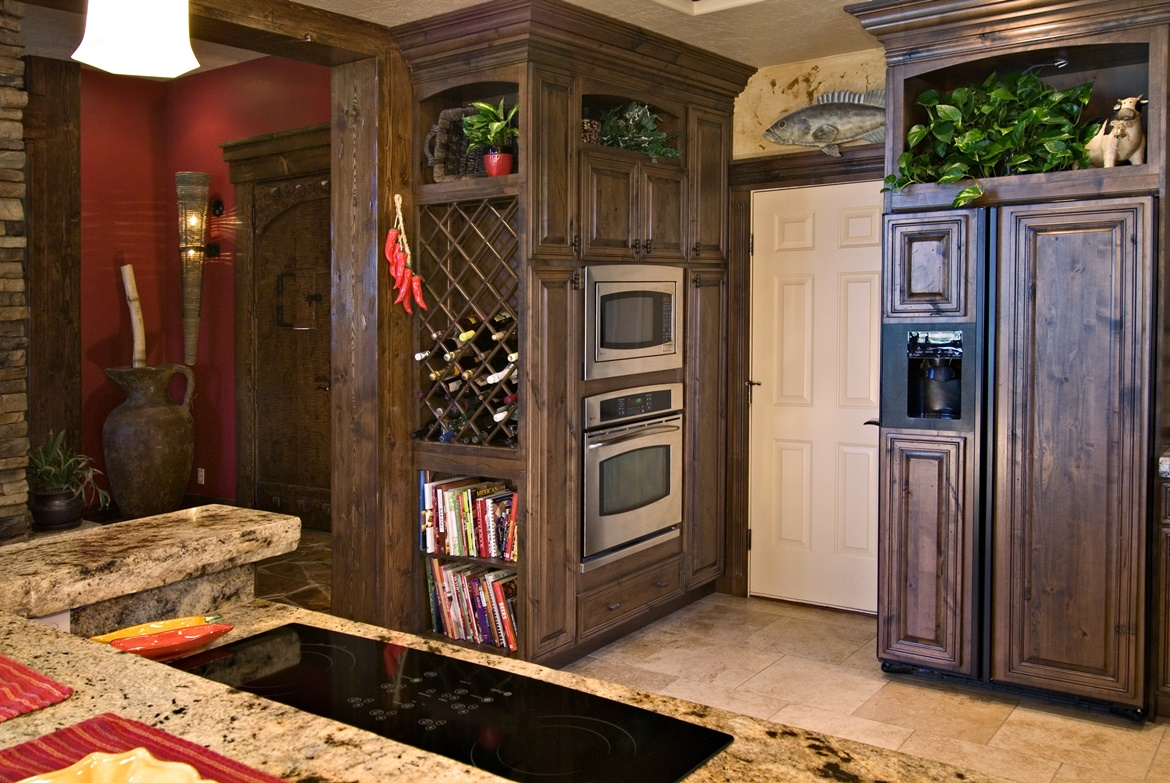 Wine Rack, Open Shelf Cabinets, Roman Arch Top Rail Option, Finished Interiors, Appliance Plant On Panels