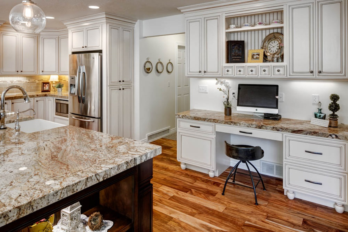 Kitchen and Den Office Cabinetry, Beaded Paneling in Open Shelf Wall Cabinets, Spice Pull Out Drawers